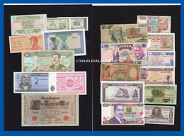 WORLD  MONDE  20 BANKNOTES BILLETS  LOT 2  UNC. TO  POOR CONDITION - Coins & Banknotes