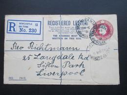 GB 1924 Registered Letter R No. 230 Newcastle On Tyne 13. An Rev. Richtmann In Liverpool. - 1902-1951 (Könige)