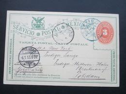 Mexico 1894 Ganzsache Mit 4 Stempeln! Blauer Stempel Tepic. An Prediger Lange In Potsdam. Via New York - Mexiko