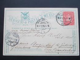 Mexico 1895 Ganzsache Mit 4 Stempeln! Mazatlan Nach Jüterborg. Via New York - Mexiko