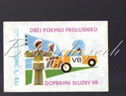7-33 CZECHOSLOVAKIA 1979- 54x76mm VB Police Force Of The Czechoslovak Socialist Republic - Traffic VB Highway Patrol - Luciferdozen - Etiketten