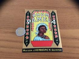 Etiquette « RHUM PAMELA - RHUM PAMELA - MAISON J. KERBOURC'H QUIMPER (29)» - Rhum
