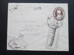 GB Kolonie Indien 1930 R-Brief / Registered Letter. Punjab National Bank LTD. Sialkot. Ganzsachenumschlag Mit 2 Zusatzfr - Indien (...-1947)