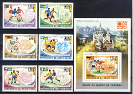 Haute-Volta (Burkina Faso) 1974 - Finalist World Cup - 6 Val. + Sheet (1 Images) - Gum MNH** Cancelled Light - 1974 – Germania Ovest