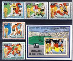 Haute-Volta (Burkina Faso) 1974 -  World Cup - 5 Val. + Sheet (1 Images) - Gum MNH** Cancelled Light - Coppa Del Mondo
