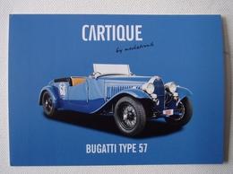 """Carte Photo Automobile Publicitaire Bugatti Type 57  """"Cartique"""" - Passenger Cars"""
