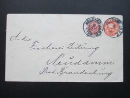 Dänemark 1898 Ganzsachenumschlag Mit Zusatzfrankatur.Kolding JB. P.E. An Die Fischerei Zeitung Neudamm Prov. Brandenburg - Cartas