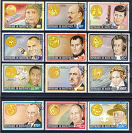 Haute-Volta (Burkina Faso) 1973 -  Personalities Zodiac Signs - 12 Val. + 3 Sheet (2 Images) - Gum MNH** Cancelled Light - Astrologia