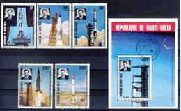 Haute-Volta (Burkina Faso) 1973 -  The 10th Anniversary Death - 5 Val. + Sheet (1 Images) - Gum MNH** Cancelled Light - Space