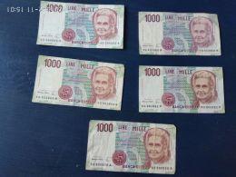5 Banconote Da 1000 Lire  Montessori - [ 2] 1946-… : Républic