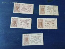 5 Banconote Da 1 Lira - Italia – 1 Lira