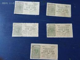 5 Banconote Da 2 Lire - Italia – 1 Lira