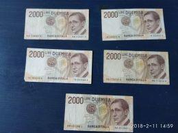 5 Banconote Da 2000 Lire Marconi - [ 2] 1946-… : République