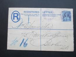 GB 1892 Registered Letter Mit Zusatzfrankatur Nr. 89 Blauer / Violetter Stempel London!! Nach Berlin 2 Ankunftsstempel - Briefe U. Dokumente