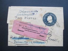 Argentinien 1902 Streifband Nach Paris über Hamburg Postlagernd über Essen Hotel Stemme Nach Nürnberg! Rühmann - Argentinien