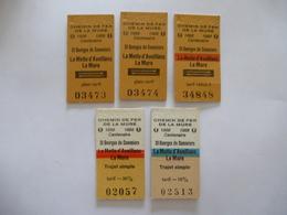 CHEMIN DE FER DE LA MURE (ISERE) LOT De 5 Tickets  De 1992 Et 1995 - Europe