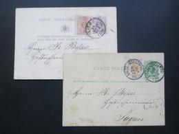Belgien 1878 U. 1882 2 Ganzsachen Mit Zusatzfrankatur Nach Sagan - 1869-1883 Leopold II.
