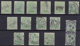 15x Timbre Albert 1er 5c Vert/jaune N° 137 - Divers Cachets Et Griffes Différent(e)s - 1915-1920 Albert I.