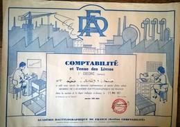1er Degré (juniors) Comptabilité Et Tenue Des Livres Académie Dactylographque De France 1957 - Diploma & School Reports