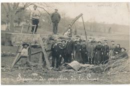 """CHAMPNIERS, BRIE - Carte Photo - Scieurs De Long, """"Souvenir Du Peuplier De La Cure"""" - 4 Scans - France"""