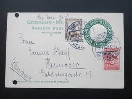 Mexiko 1928 Ganzsache Mit 2 Zusatzfrankaturen Nach Hannover Via New York. Aktenlochung - Mexiko
