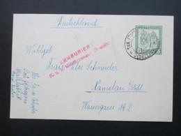 Österreich KuK Feldpost GA Jedrzejow Nach Schlesien. Absender: Malzfabrik / Bierbrauerei ?? Zensur! Zenzuriert - 1850-1918 Imperium