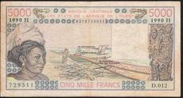 W.A.S. NIGER  P608Hm 5000 FRANCS 1990 VF NO Tear,NO P.h. - Niger