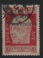 1921 Fiume Occupazione D'Annunzio 10 C. Senza Trattino Nr.176 - Fiume