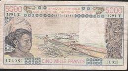 W.A.S. TOGO  P808Tk 5000 FRANCS 1991 Signature 22  VF Small Tear - Togo