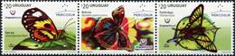 Uruguay. 2016. Butterflies Of Uruguay (MNH OG **) Block Of 3 Stamps - Uruguay