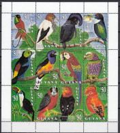Guyana 1993 (MNH) - Crimson Topaz..Paradise Tanager....Red-fan Parrot.....Guianan Cock-of-the-rock - Collections, Lots & Series