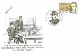 "5198  Guglielmo Marconi, Radio: Timbre, Oblitération 2001 + Enveloppe 100% Concordante - ""Inventor Of Radio"" Sp.cancel - Telecom"