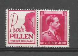 PU 163**, Roode PILLEN, Timbre N° 528 Léopold III, 1F Carmin. - Publicités