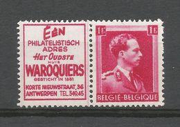 PU 169**, Waroquiers, Timbre N° 528 Léopold III, 1F Carmin. - Publicités