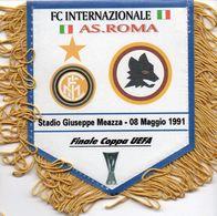 Fanion Du Match INTER MILAN / AS ROMA Finale UEFA 1991 - Habillement, Souvenirs & Autres