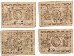 4 X Noodgeld 1918 Wetteren 25 Centiem - [ 3] German Occupation Of Belgium