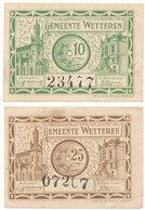 2 X Noodgeld 1918 Wetteren 25 Centiem En 10 Centiem - Zo Goed Als Nieuw - [ 3] German Occupation Of Belgium