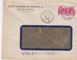 Huningue Lettre à Entête 1949 Société Alsacienne De Teinture - Alsace Lorraine