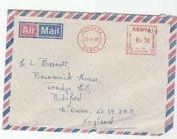 1982 Mombasa KENYA COVER METER N991 Stamps To GB - Kenya (1963-...)