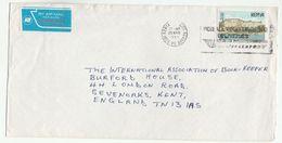 1989 Air Mail KENYA COVER Stamps 5/- FORT JESUS Stamps KENYA AIRWAYS AIRMAIL LABEL To GB Flight Aviation - Kenya (1963-...)