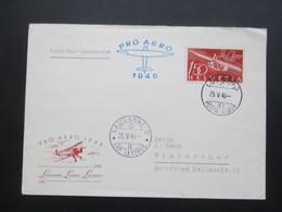 Schweiz 1946 Pro Aero Nr. 470 EF Luftpost Locarno - Lausanne. Stempel Vom 2. Tag. Schulgleiter Zögling - Briefe U. Dokumente