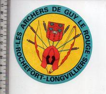 REF 10 : Autocollant Sticker Thème TIR A L'ARC Archerie Archer Compagnie Rochefort Longvilliers Guy Le Rouge - Archery