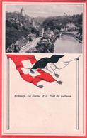 Fribourg, La Sarine Et Le Pont Du Gotteron, Drapeau Du Canton Et De La Suisse (12.6.1923) - FR Fribourg