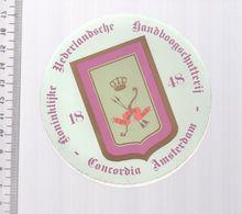 REF 10 : Autocollant Sticker Thème TIR A L'ARC Archerie Archer Compagnie Amsterdam - Archery