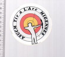 REF 10 : Autocollant Sticker Thème TIR A L'ARC Archerie Archer Compagnie Migennes - Tir à L'Arc