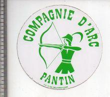 REF 10 : Autocollant Sticker Thème TIR A L'ARC Archerie Archer Compagnie Pantin - Tiro Al Arco
