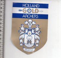 REF 10 : Autocollant Sticker Thème TIR A L'ARC Archerie Archer Compagnie Holland Gold Bruntink - Archery