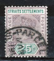Straits Settlements Queen Victorian 1892 Twenty Five Cent Dull Purple And Green Stamp. - Straits Settlements