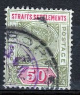 Straits Settlements Queen Victorian 1892 Fifty Cent Olive Green And Carmine Used Stamp. - Straits Settlements