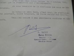 LAS Autographe Raoul Bayou Député Assemblée Nationale Maire Cessenon Conseiller Saint Chinian 5/10/1963 - Autographes